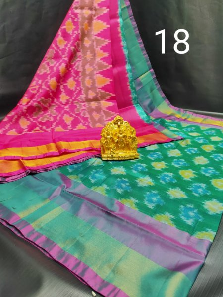 Green and Pink Pochampalli soft silk saree with plain blouse piece