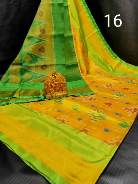 Golden yellow and Green Pochampalli soft silk saree with plain blouse piece