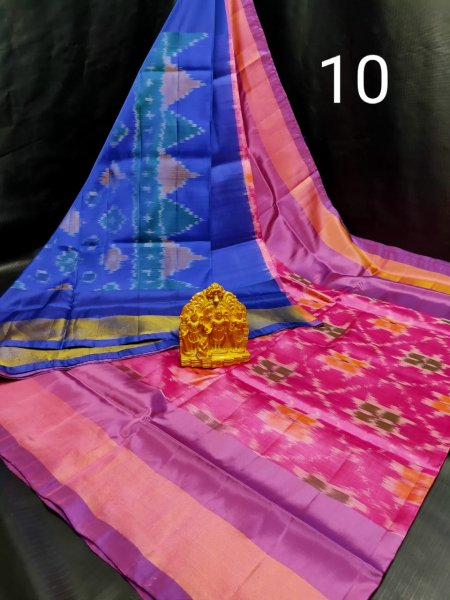 Blue and Hot pink Pochampalli soft silk saree with plain blouse piece