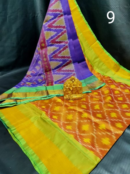 Mustard yellow and Blue Pochampalli soft silk saree with plain blouse piece
