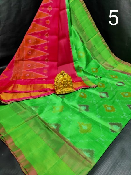 Green and Ruby pink Pochampalli soft silk saree with plain blouse piece