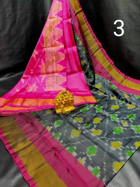 Gray and Pink Pochampalli soft silk saree with plain blouse piece