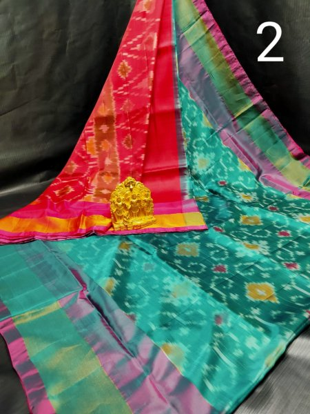 Red and Ocean green Pochampalli soft silk saree with plain blouse piece