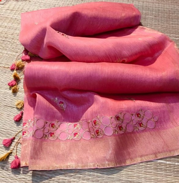 Baby pink linen embroidery saree with running blouse piece