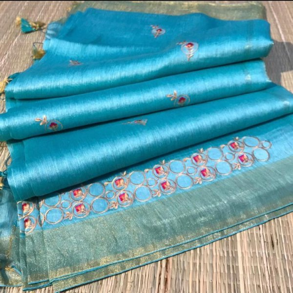 Sky blue linen embroidery saree with running blouse piece