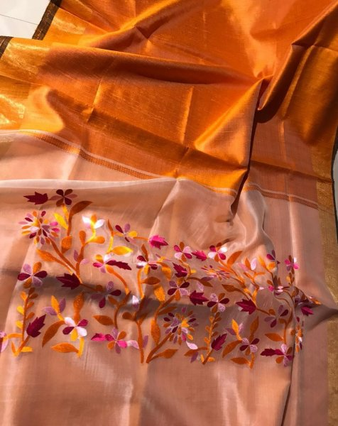 Orange  pallu embroidery linen silk saree