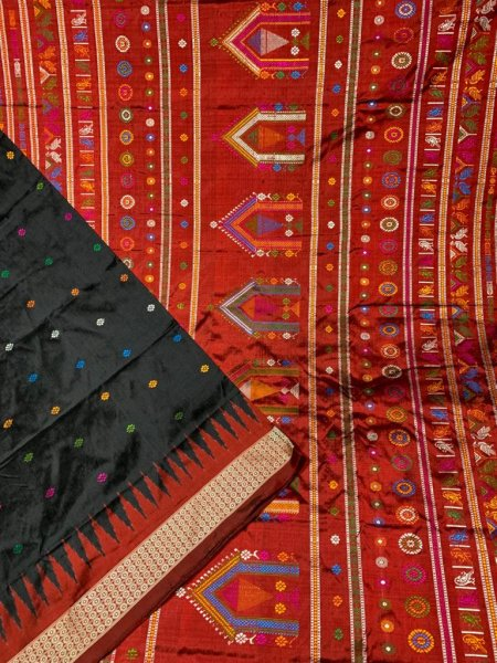Black and Red handwoven Dolabedi silk saree
