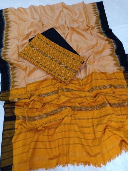 Yellow and Black  Odisha handwoven tribal salwar suit piece