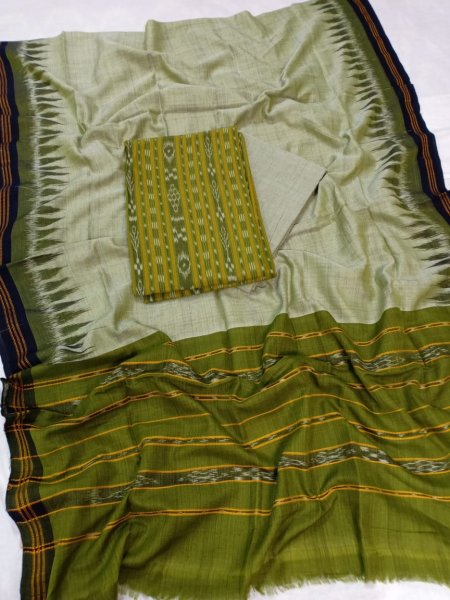 Green and Gray Odisha handwoven tribal salwar suit piece