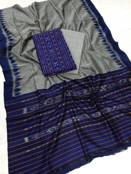 Deep blue and Gray Odisha handwoven tribal salwar suit piece