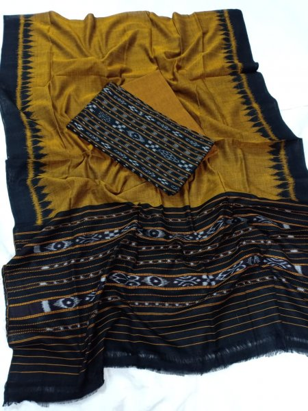 Mustard yellow and Black Odisha handwoven tribal salwar suit piece