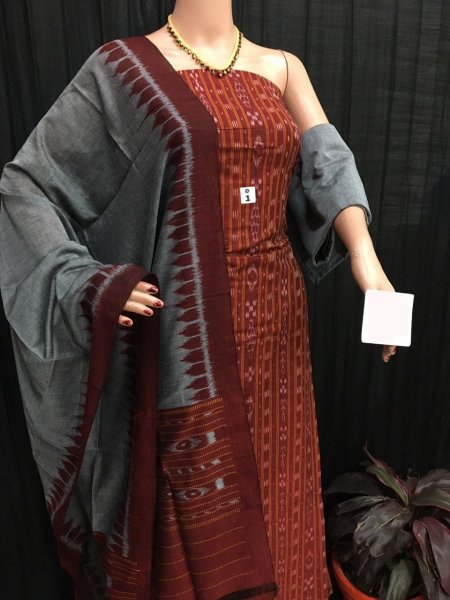 Maroon and Gray ikkat salwar suit piece