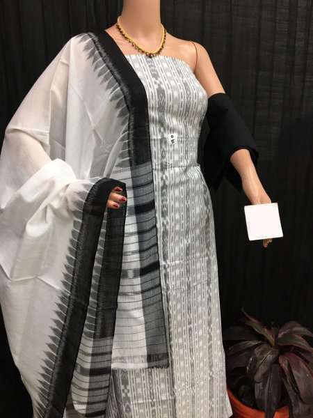 White and black Ikat salwar suit piece