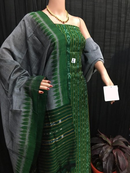 Green and Gray ikat salwar suit piece