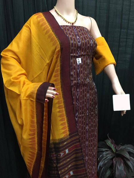 Maroon and Yellow ikat salwar suit piece