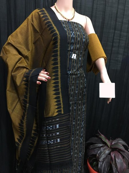 Black and Clay ikat salwar suit piece