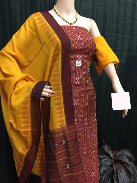 Yellow and maroon ikat salwar suit piece