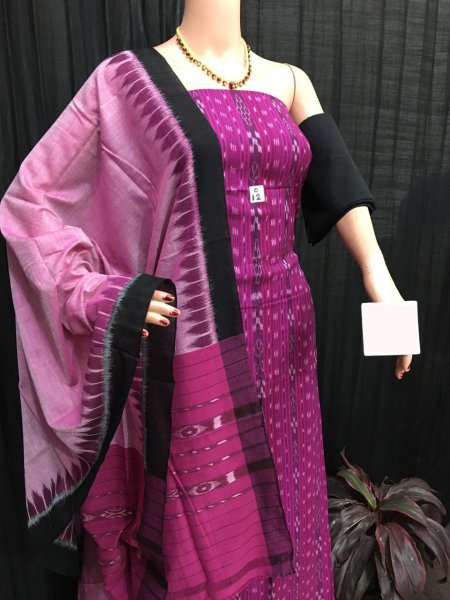 Pink and black ikat salwar suit piece