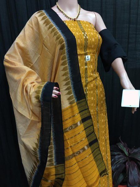 Mustard yellow and black ikat salwar suit piece