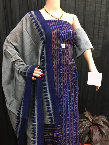 Navy blue and gray ikat salwar suit piece