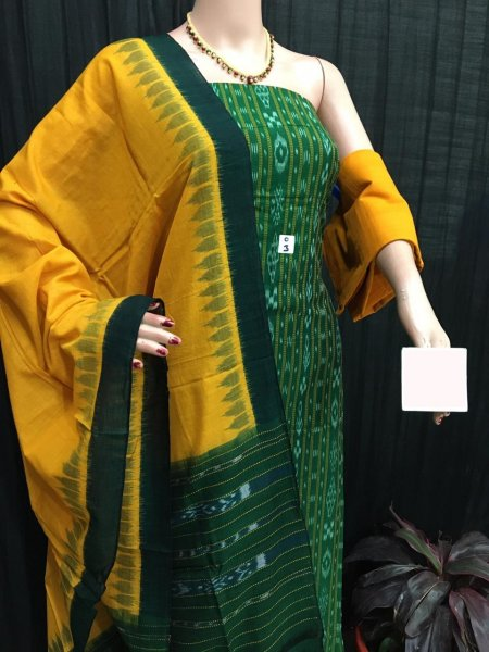 Green and Yellow ikat salwar suit piece