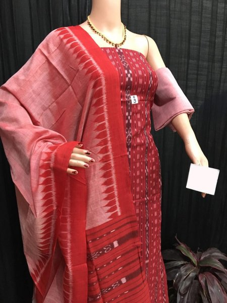 Red ikat salwar suit piece