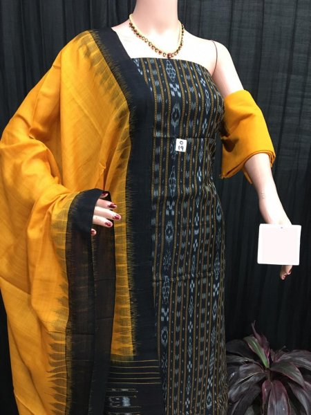 Yellow and Black ikat salwar suit piece