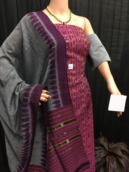 Purple and gray ikat salwar suit piece