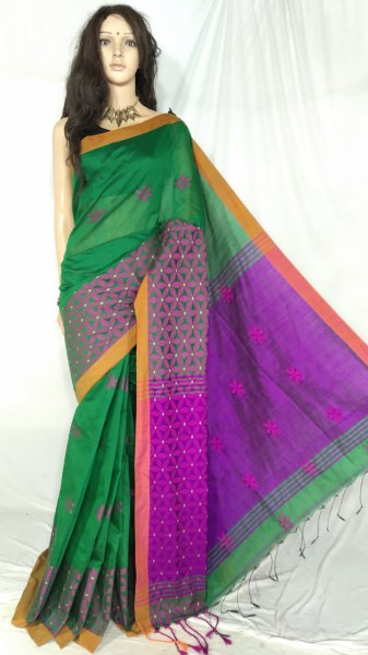 Green and purple handloom cotton silk saree