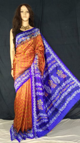 Red and blue soft silk block print saree with blouse piece