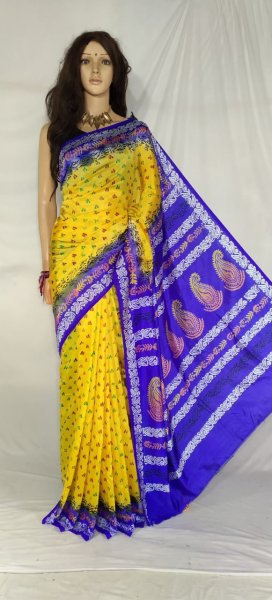 Yellow and blue soft silk block print saree with blouse piece