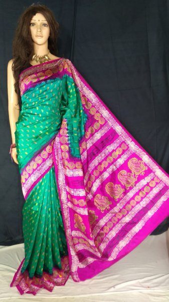Ocean green and magenta soft silk block print saree with blouse piece
