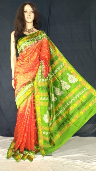 Orange and green soft silk block print saree with blouse piece