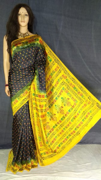 Black and yellow soft silk block print saree with blouse piece