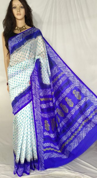 White and blue soft silk block print saree with blouse piece