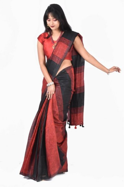 Red and Black pure linen silk saree