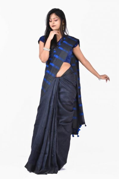 Blue and Black pure linen silk saree with blouse piece