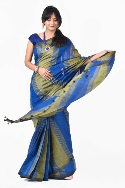 Green and blue pure linen silk saree with blouse piece