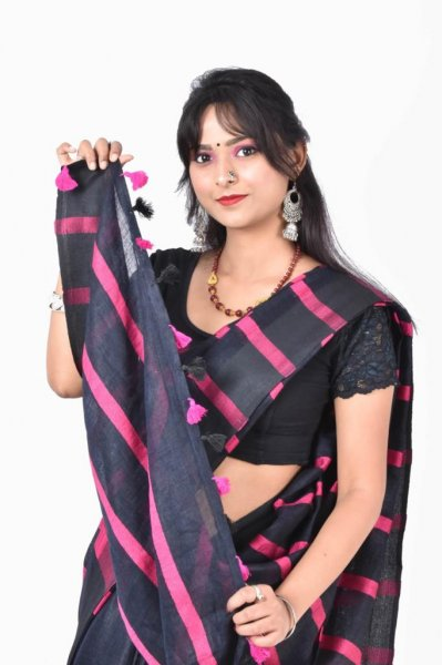 Black and pink pure linen silk saree with blouse piece