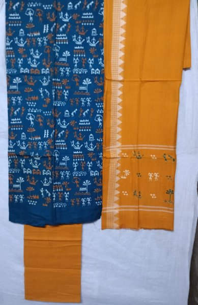 Blue and yellow tribal design  handwoven embroidery salwar suit piece