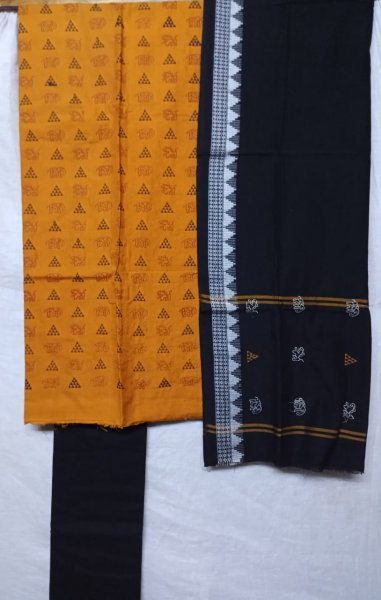 Yellow and black  tribal design  handwoven embroidery salwar suit piece