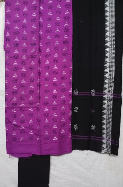 Purple and black  tribal design  handwoven embroidery salwar suit piece