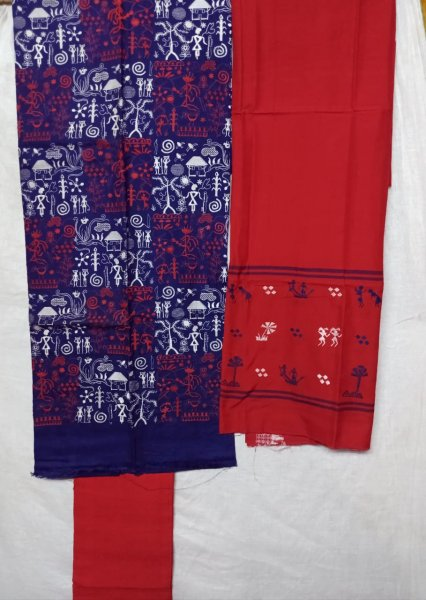 Blue and Red tribal design handwoven salwar suit piece