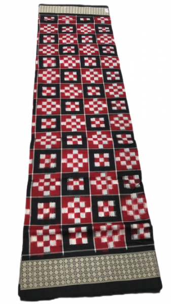 Red, white and black handwoven pasapalli saree