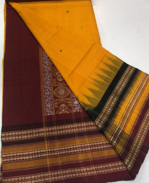 Handwoven yellow and maroon Bomkai cotton saree