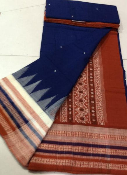 Handwoven blue and brown Bomkai cotton saree
