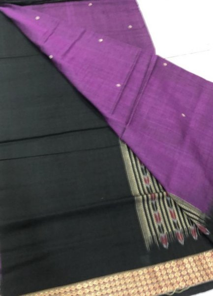 Handwoven purple and black Bomkai cotton saree