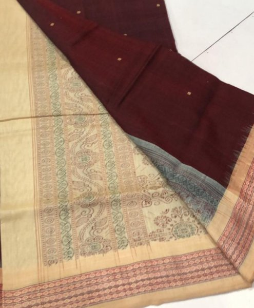 Handwoven cream and brown Bomkai cotton saree