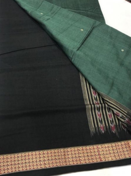 Handwoven gray and black Bomkai cotton saree