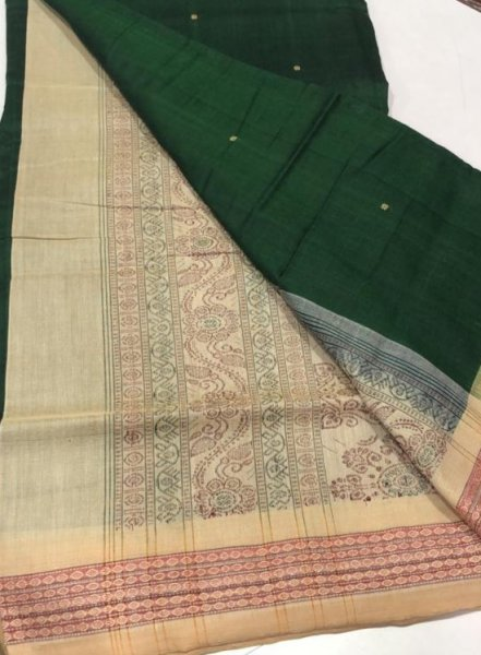 Handwoven cream and green Bomkai cotton saree